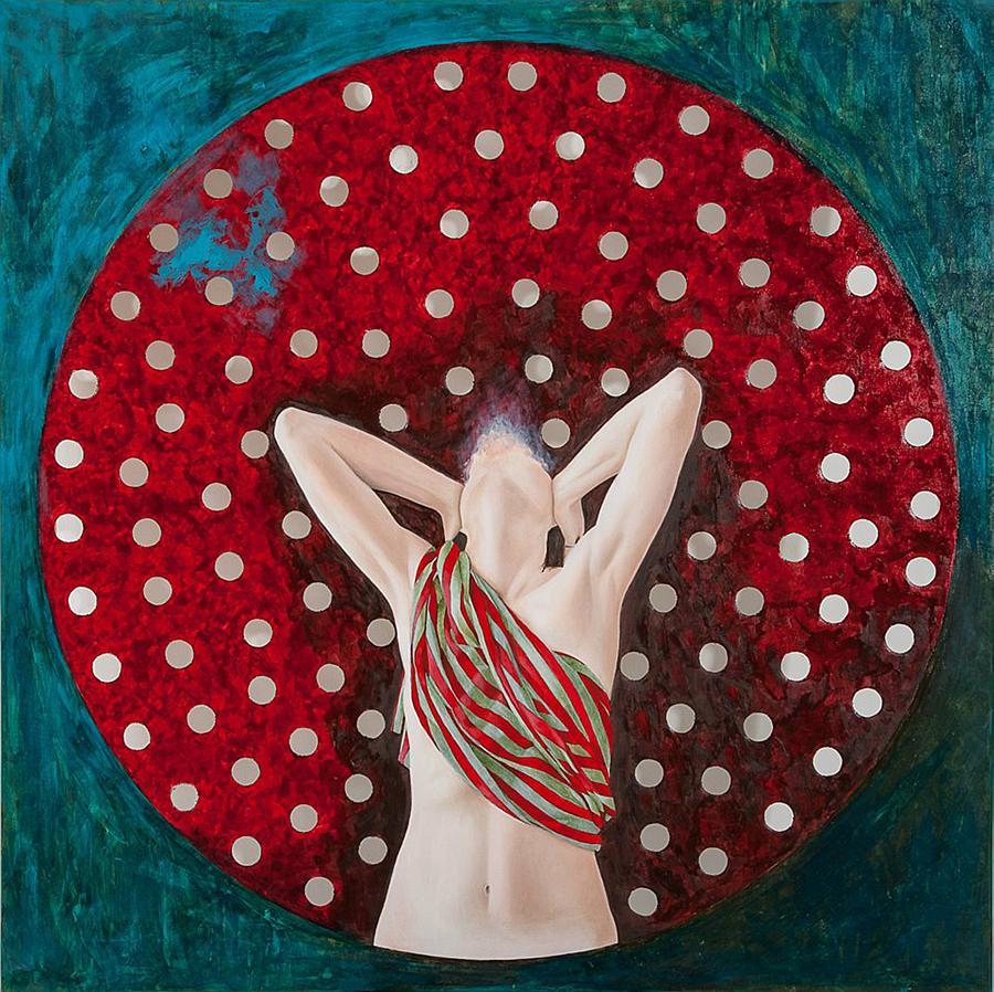 Teresa Luzii, Senza titolo, cm 100x100, olio, smalti su tela - 2014